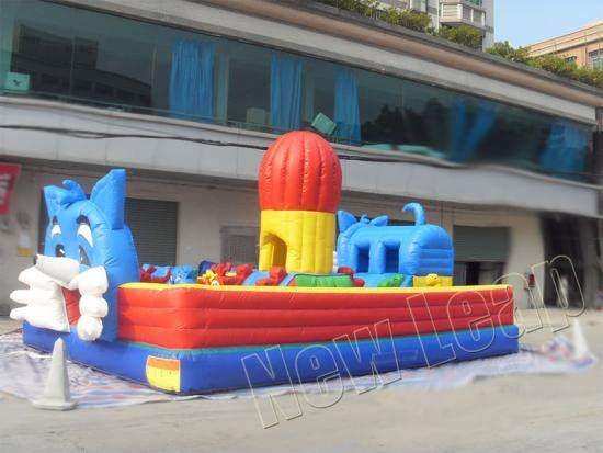 blue cat inflatable playground